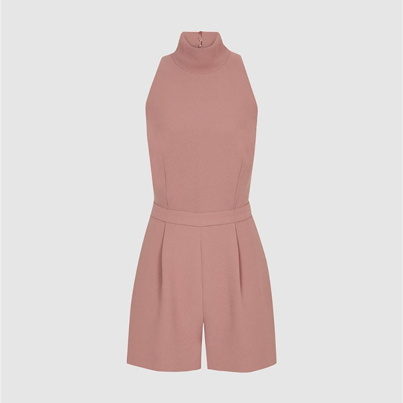 Reiss Lucille Open back High Neckline Tailored Playsuit RRP$325 UK12 Zoom Boutique Store playsuit Reiss Lucille Open back High Neckline Tailored Playsuit| Zoom Boutique