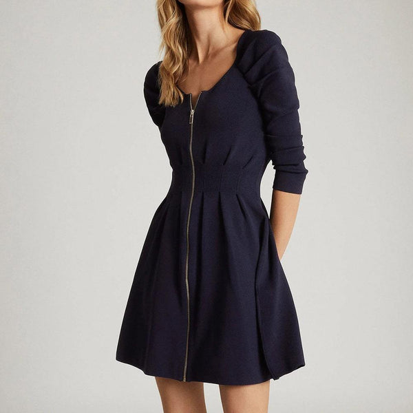 Reiss McKenzie Zip Through Fit & Flare Knit Mini Dress Zoom Boutique Store dress Reiss McKenzie Zip Through Fit & Flare Knit Mini Dress | Zoom Boutique
