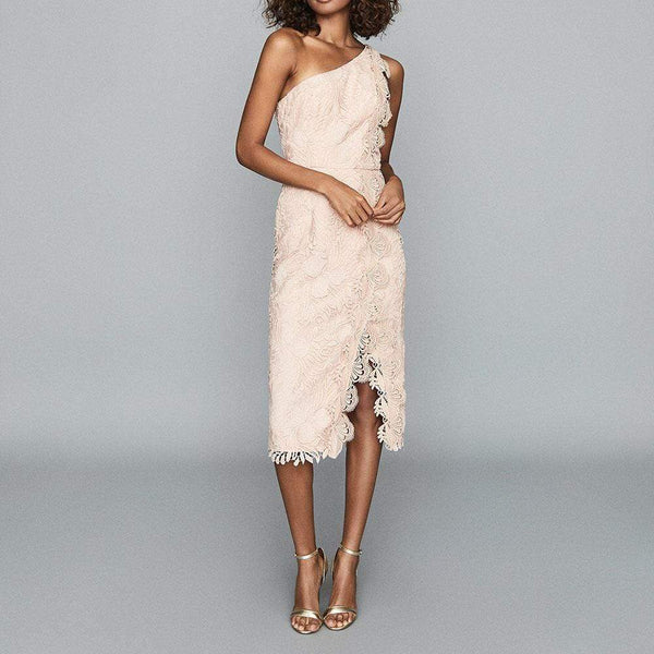Reiss Mena One Shoulder Floral Lace Midi Dress RRP$425 Zoom Boutique Store dress Reiss Mena One Shoulder Floral Lace Midi Dress | Zoom Boutique