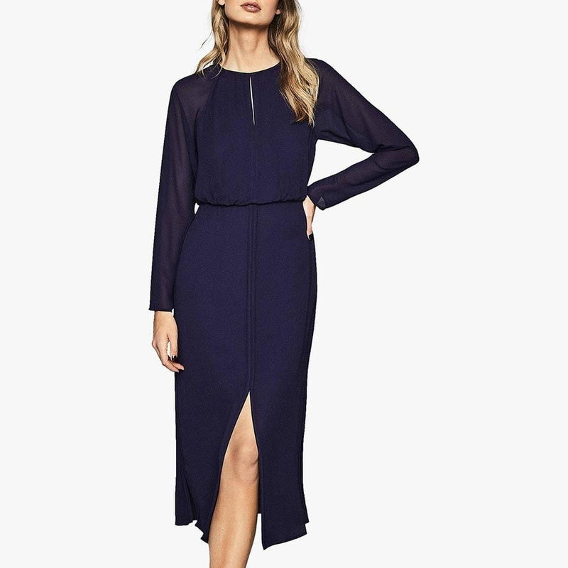 Reiss Mylee Keyhole Neck Semi Sheer Sleeves Crepe Midi Dress RRP$425 Zoom Boutique Store dress Reiss Mylee Keyhole Semi Sheer Sleeves Crepe Midi Dress| Zoom Boutique