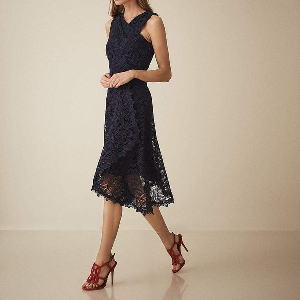 Reiss RAYNA Wrap Front Lace Overlay Dress $475 Zoom Boutique Store dress