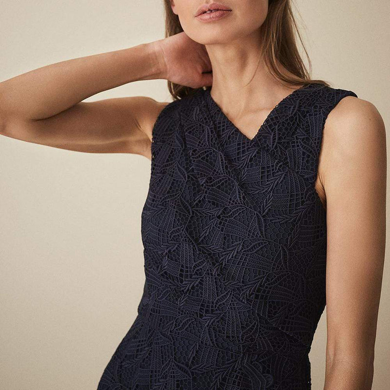 Reiss RAYNA Wrap Front Lace Overlay Dress $475 - Zoom Boutique Store