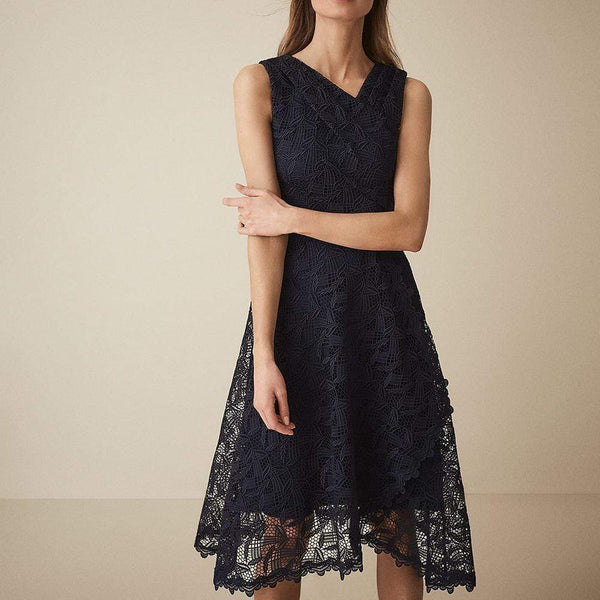 Reiss RAYNA Wrap Front Lace Overlay Dress $475 UK6 Zoom Boutique Store dress