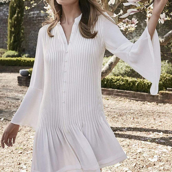 Reiss SYLVAN Pleated Long Sleeve Shirt Dress $295 Zoom Boutique Store dress
