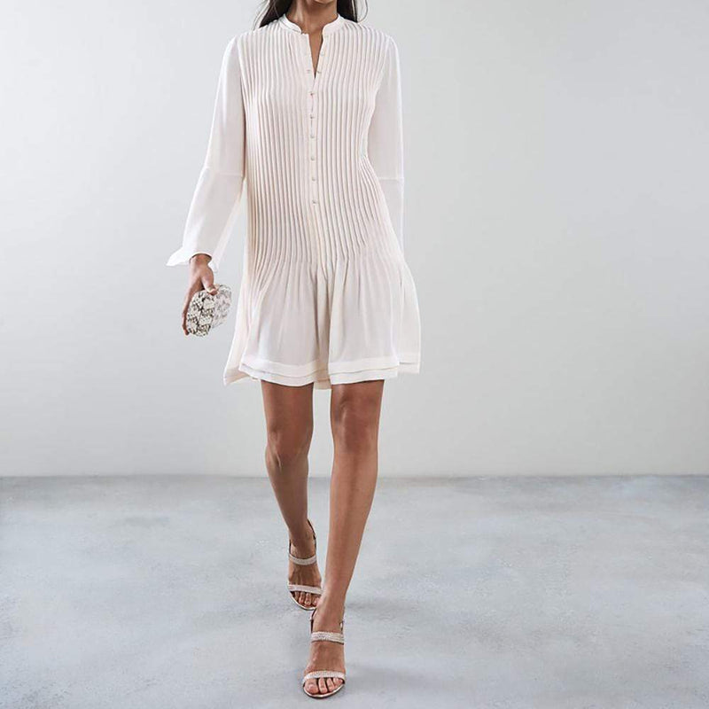 Reiss SYLVAN Pleated Long Sleeve Shirt Dress RRP$295 - Zoom Boutique Store