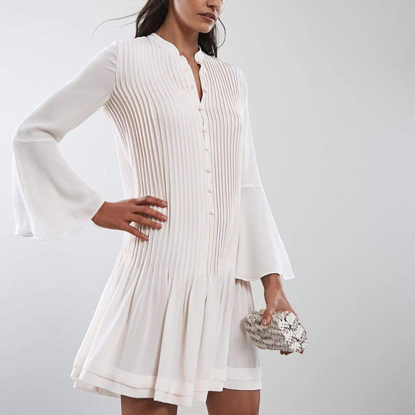 Reiss SYLVAN Pleated Long Sleeve Shirt Dress $295 UK6 Zoom Boutique Store dress