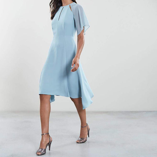 Reiss Tavia Asymmetric Hem Chiffon Midi Crepe Dress $370 Zoom Boutique Store dress