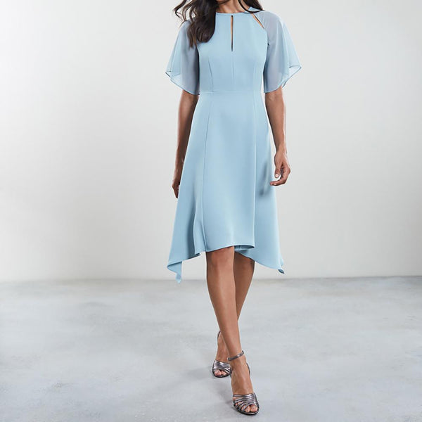 Reiss Tavia Asymmetric Hem Chiffon Midi Crepe Dress $370 UK6 Zoom Boutique Store dress