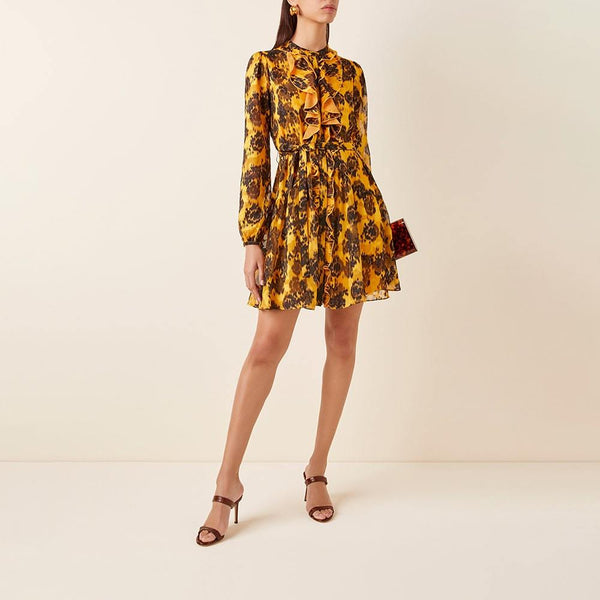 Saloni Tilly Ruffled Self Belt Chiffon Mini Dress RRP$395 Zoom Boutique Store dress Saloni Tilly Ruffled Self Belt Chiffon Mini Dress | Zoom Boutique