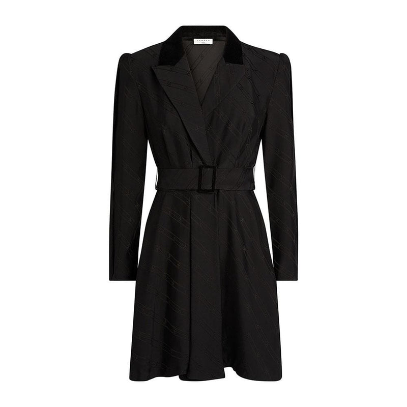 Sandro Abys Vevet Trim Jacquard Belted Blazer Mini Dress 1 Zoom Boutique Store dress Sandro Abys Vevet Jacquard Belted Blazer Mini Dress | Zoom Boutique