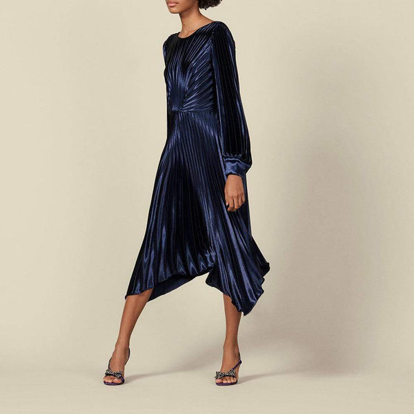 Sandro Asymmetric Pleated Metallic Velvet Dress $595 1 Zoom Boutique Store dress