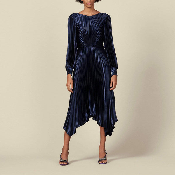 Sandro Asymmetric Pleated Metallic Velvet Dress $595 Zoom Boutique Store dress