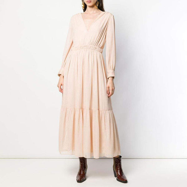 Sandro Chaireen Maxi Pleated Dress with Long Sleeves RRP$670 - Zoom Boutique Store