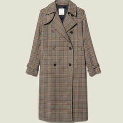 Sandro Checked Back Half Belt Trench Coat RRP$695 S Zoom Boutique Store coat Sandro Checked Double Button Back Half Belt Trench Coat| Zoom Boutique