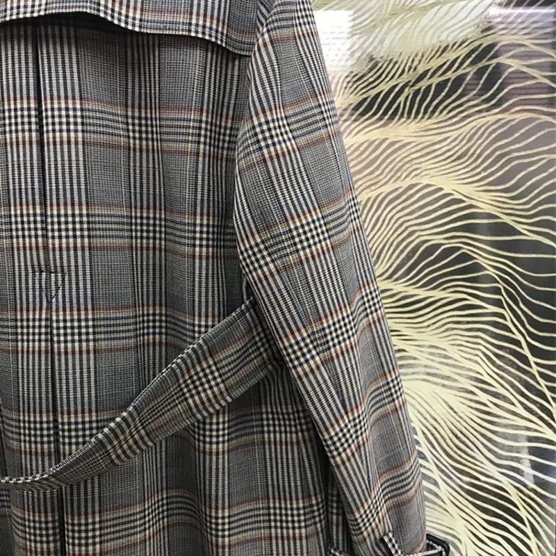 Sandro Checked Back Half Belt Trench Coat RRP$695 Zoom Boutique Store coat Sandro Checked Double Button Back Half Belt Trench Coat| Zoom Boutique