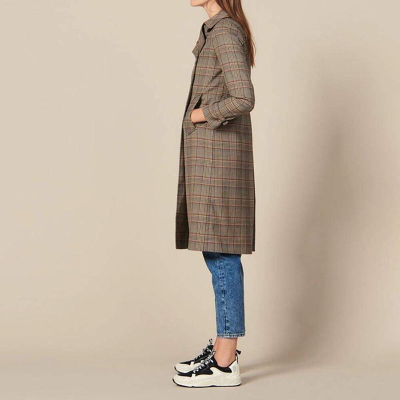 Sandro Checked Back Half Belt Trench Coat RRP$695
