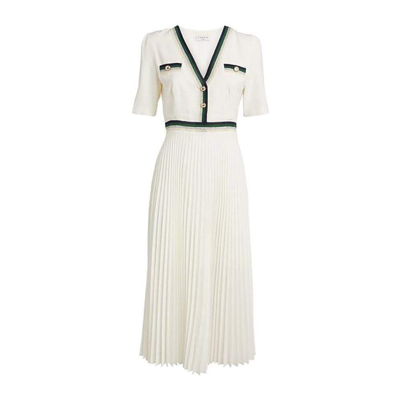 Sandro Cruise Striped Trim Crepe Midi Pleated Dress RRP$345 - Zoom Boutique Store