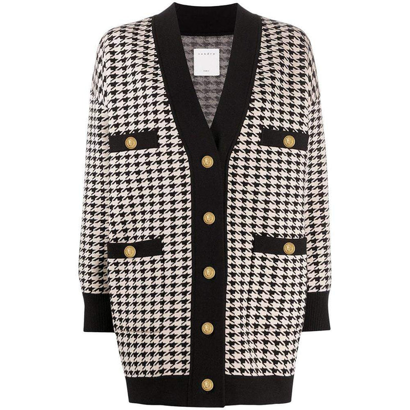 Sandro Dane Houndstooth Oversized Knitted Cardigan RRP$370 1 Zoom Boutique Store cardigan Sandro Dane Houndstooth Oversized Knitted Cardigan | Zoom Boutique