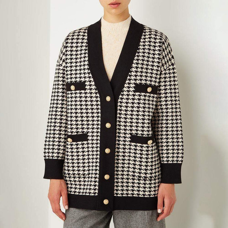 Sandro Dane Houndstooth Oversized Knitted Cardigan RRP$370 Zoom Boutique Store cardigan Sandro Dane Houndstooth Oversized Knitted Cardigan | Zoom Boutique