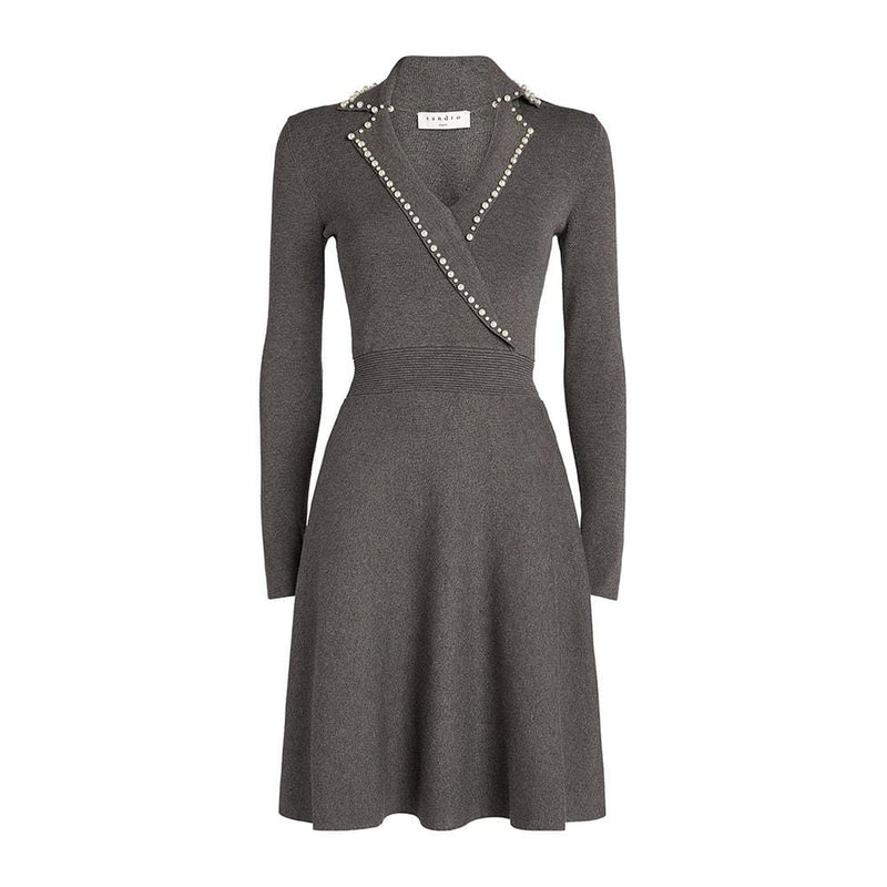 Sandro Embellished Beads Fit & Flare Knitted Mini Dress RRP$370 S Zoom Boutique Store dress Sandro Embellished Beads Fit Flare Knitted Mini Dress | Zoom Boutique