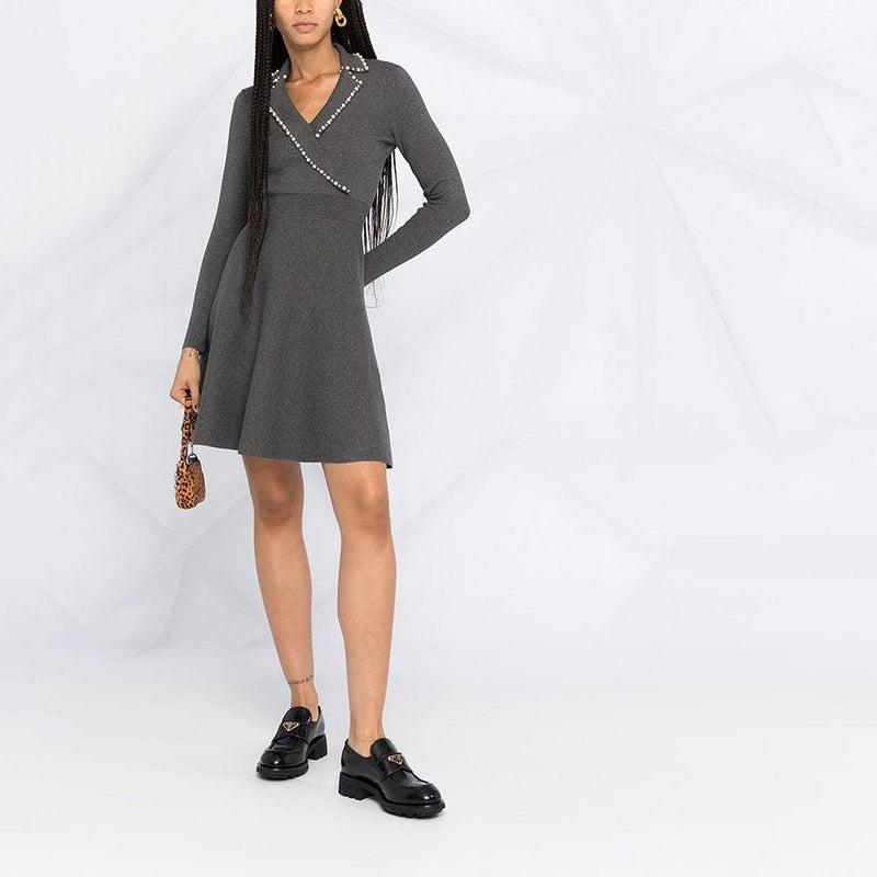 Sandro Embellished Beads Fit & Flare Knitted Mini Dress RRP$370 Zoom Boutique Store dress Sandro Embellished Beads Fit Flare Knitted Mini Dress | Zoom Boutique