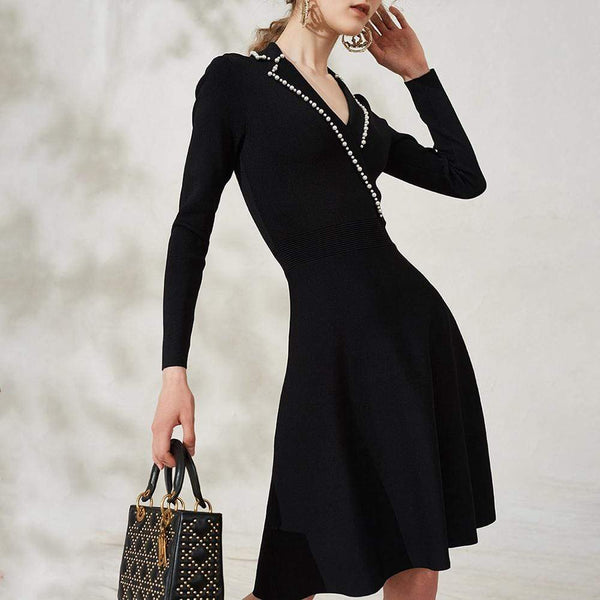 Sandro Faux Pearl Suity Embellished Knit A-Line Dress $370 Zoom Boutique Store dress