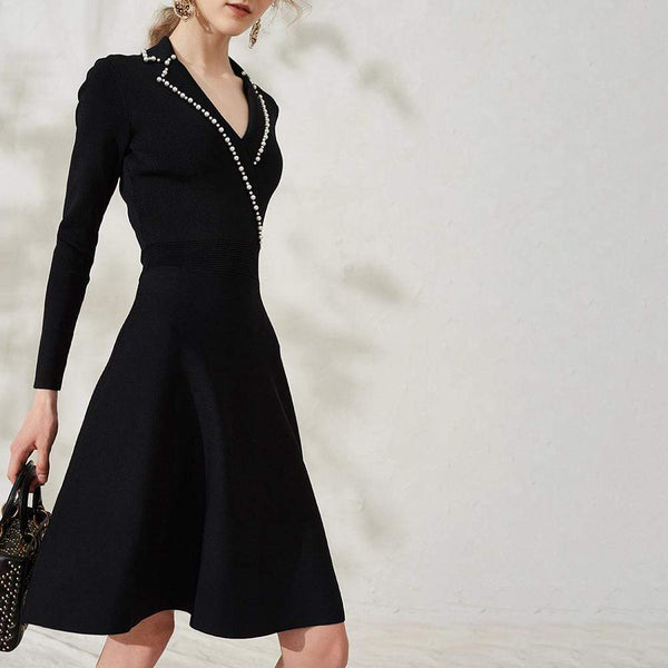 Sandro Faux Pearl Suity Embellished Knit A-Line Dress RRP$370 - Zoom Boutique Store