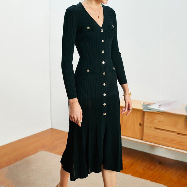 Sandro Jannel Long Button Up Cardigan Knitted Midi Dress RRP$340 Zoom Boutique Store dress Sandro Jannel Long Button Up Cardigan Knitted Dress | Zoom Boutique