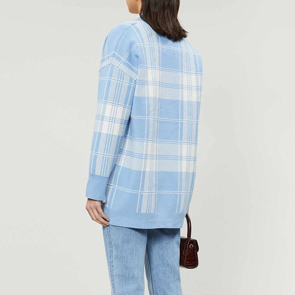 Sandro Jeck Plaid Tartan Oversized V Neck Knitted Cardigan Zoom Boutique Store cardigan Sandro Jeck Plaid Tartan Oversized Knitted Cardigan | Zoom Boutique