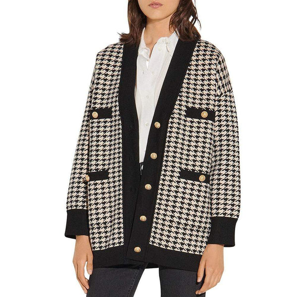 Sandro Jisou Allover Check Oversized Knitted Cardigan RRP$370 Zoom Boutique Store cardigan Sandro Jisou Allover Check Oversized Knitted Cardigan | Zoom Boutique