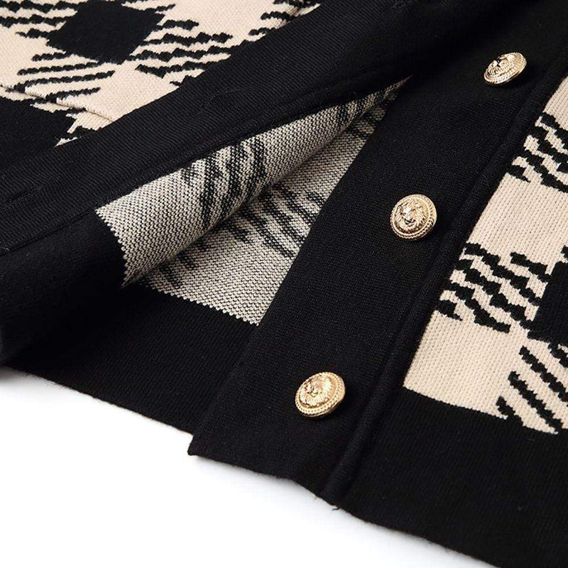 Sandro Jisou Checked Oversized Knitted Cardigan Zoom Boutique Store cardigan Sandro Jisou Checked Oversized Knitted Cardigan | Zoom Boutique