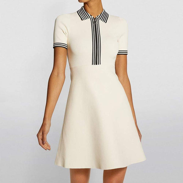 Sandro Knitted Polo Collar Fit & Flare Dress $295 1 Zoom Boutique Store dress