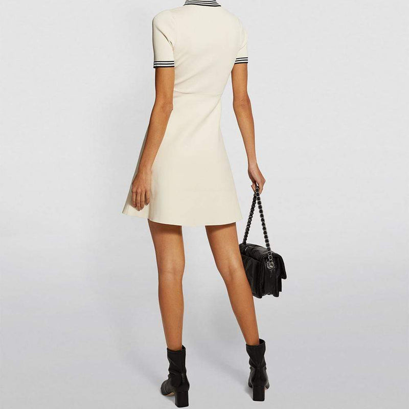 Sandro Knitted Polo Collar Fit & Flare Dress $295 Zoom Boutique Store dress