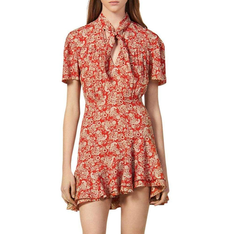 Sandro Lane Paisley Pleated Ruffle Hem A Line Mini Dress $370 - Zoom Boutique Store