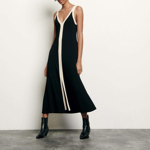Sandro Long Two Tone Straps Ribbed Knit V Neck Dress $295 1 Zoom Boutique Store dress