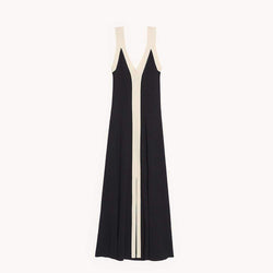 Sandro Long Two Tone Straps Ribbed Knit V Neck Dress RRP$295 - Zoom Boutique Store