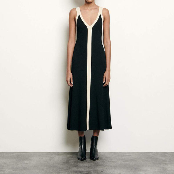 Sandro Long Two Tone Straps Ribbed Knit V Neck Dress $295 Zoom Boutique Store dress