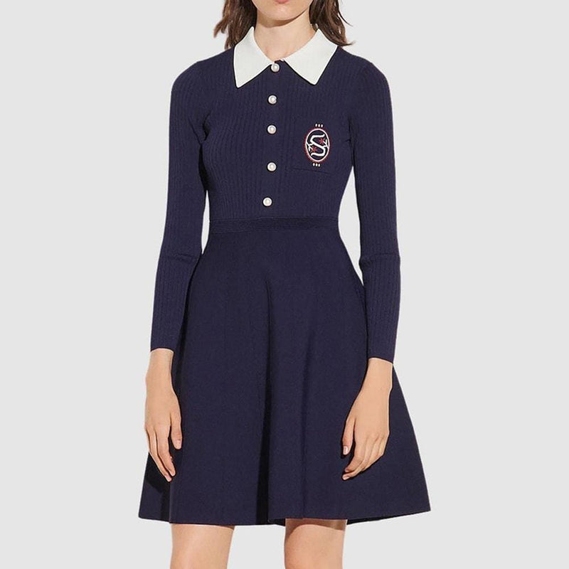 Sandro Polo Collar Knitted A Line Fit & Flare Dress RRP$465 Zoom Boutique Store dress Sandro Polo Collar Knitted A Line Fit & Flare Dress | Zoom Boutique