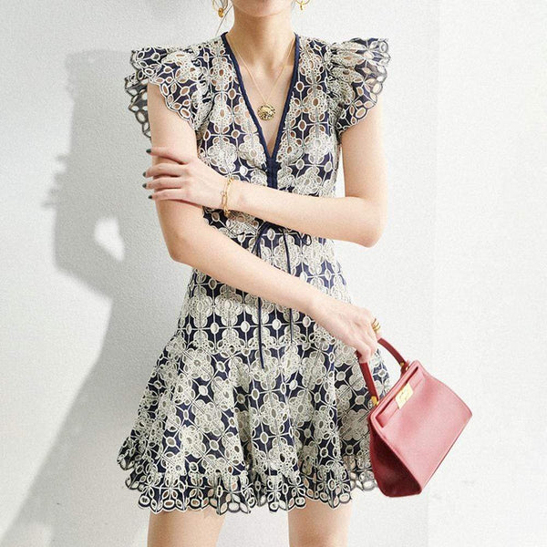Sandro Short Broderie Lace Anglaise Skater Dress RRP$445 - Zoom Boutique Store