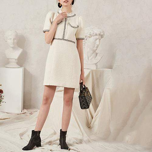 Sandro Tweed Dress with Braid Trim Lace Trim Collar RRP$445 - Zoom Boutique Store