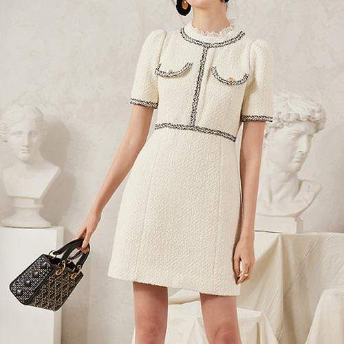 Sandro Tweed Dress with Braid Trim Lace Trim Collar $445 - Zoom Boutique Store
