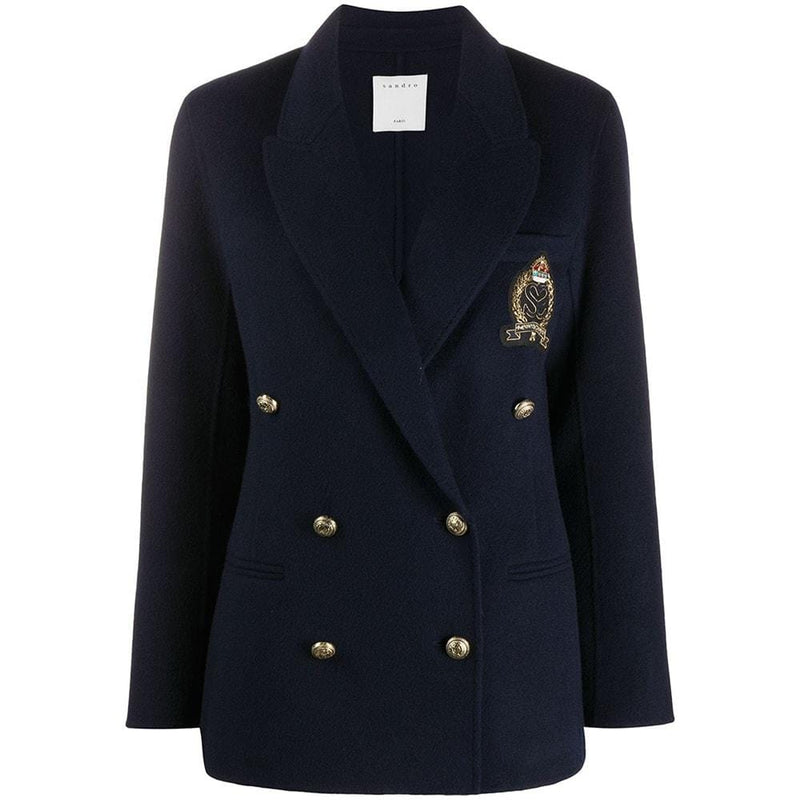 Sandro Wool Double Breasted Patch Detail Coat Blazer RRP$595 36 Zoom Boutique Store blazer Sandro Wool Double Breasted Patch Detail Coat Blazer | Zoom Boutique