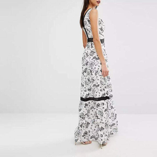 Self Portrait Clarissa Crepe De Chin Lace Panel Floral Maxi Dress Zoom Boutique Store dress Self Portrait Clarissa Crepe Lace Floral Maxi Dress | Zoom Boutique