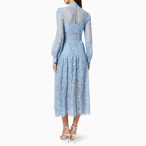 Self Portrait Corded Pussybow Lace Long Sleeves Midi Dress RRP$615 Zoom Boutique Store dress Self Portrait Corded Pussybow Floral Lace Midi Dress | Zoom Boutique