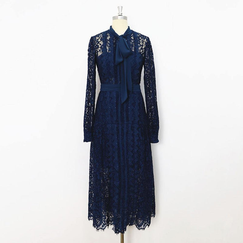 Self Portrait Corded Pussybow Lace Long Sleeves Midi Dress RRP$615 UK4 / Navy Blue Zoom Boutique Store dress Self Portrait Corded Pussybow Floral Lace Midi Dress | Zoom Boutique
