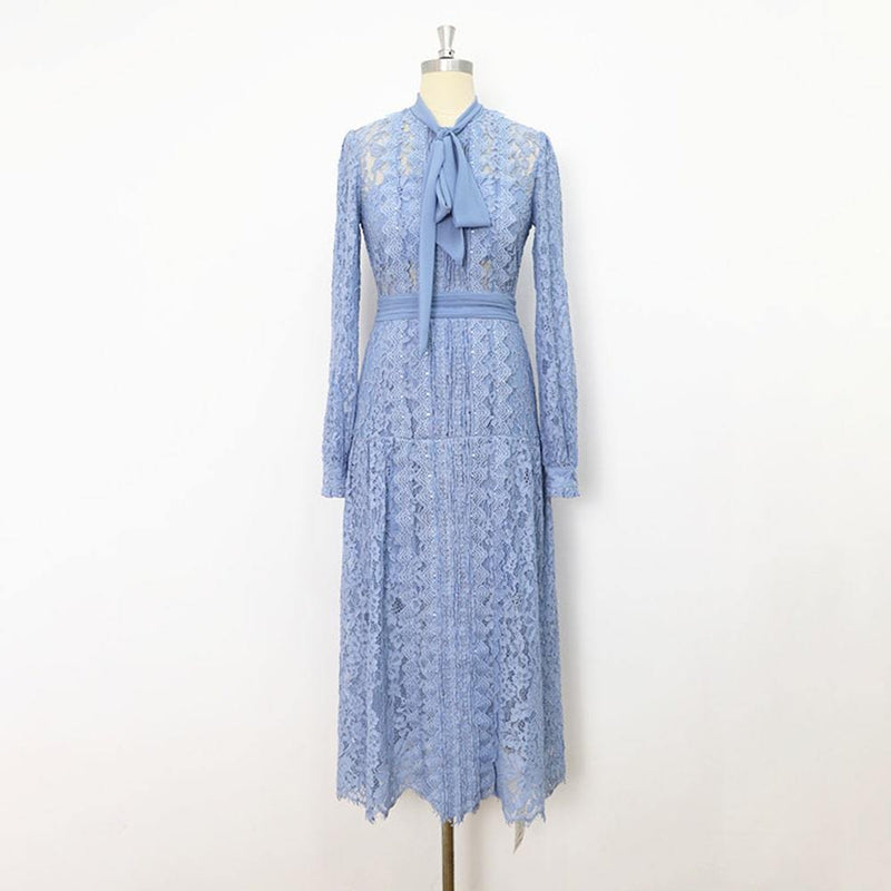 Self Portrait Corded Pussybow Lace Long Sleeves Midi Dress RRP$615 UK4 / Pale Blue Zoom Boutique Store dress Self Portrait Corded Pussybow Floral Lace Midi Dress | Zoom Boutique