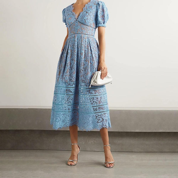 Self Portrait Crochet Trimmed Corded Guipure Lace Midi Dress Zoom Boutique Store dress Self Portrait Crochet Trimmed Guipure Lace Midi Dress | Zoom Boutique