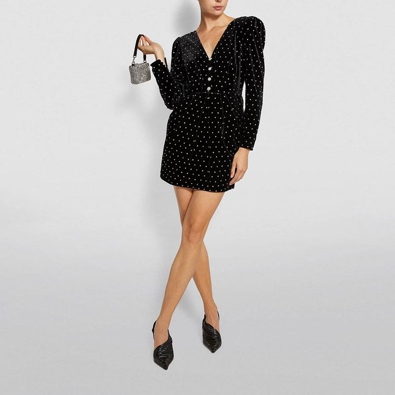 Self Portrait Crystal Embellished Diamanté Velvet Mini Dress RRP$560 Zoom Boutique Store dress Self Portrait Crystal Embellished Diamanté Velvet Dress| Zoom Boutique