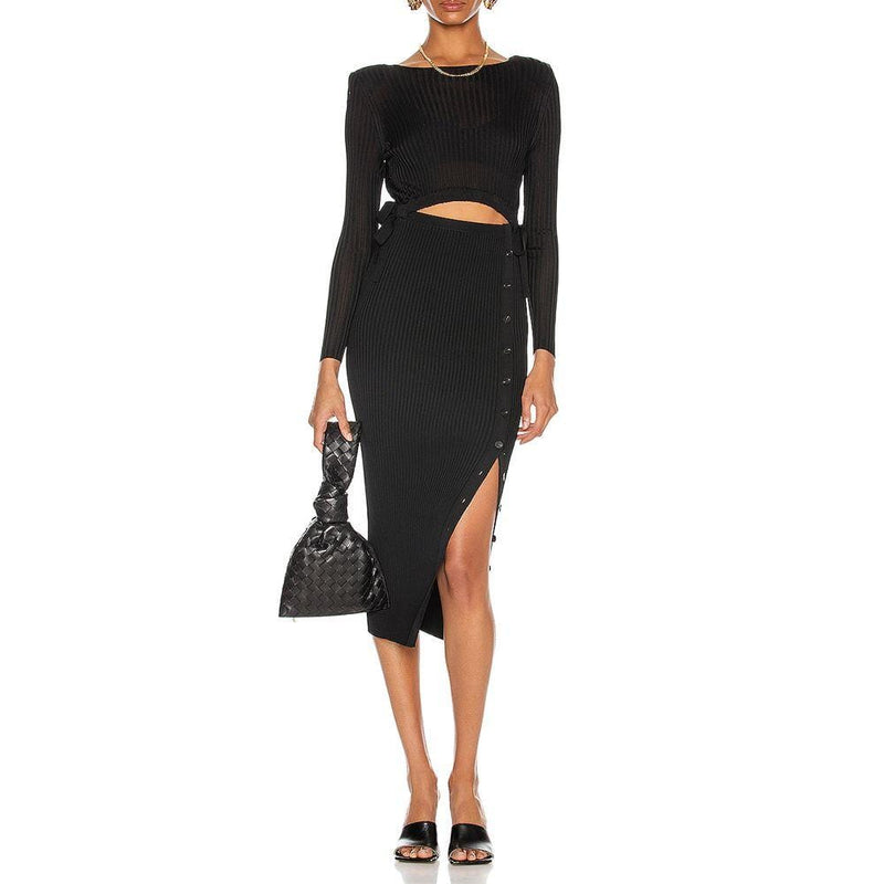 Self Portrait Cut Out Detail Viscose Rib Knit Fitted Midi Dress Zoom Boutique Store dress Self Portrait Cut Out Rib Knit Fitted Midi Dress | Zoom Boutique