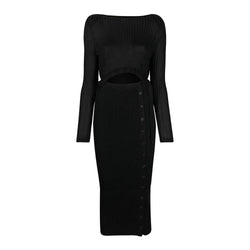 Self Portrait Cut Out Detail Viscose Rib Knit Fitted Midi Dress XS Zoom Boutique Store dress Self Portrait Cut Out Rib Knit Fitted Midi Dress | Zoom Boutique